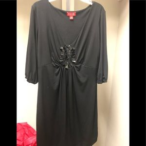 Elle Dresses - Black dress with beaded design - 3/4 sleeves